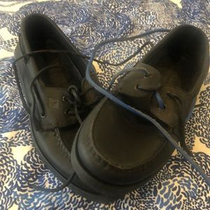 Brand new Sperry black leather size 9M